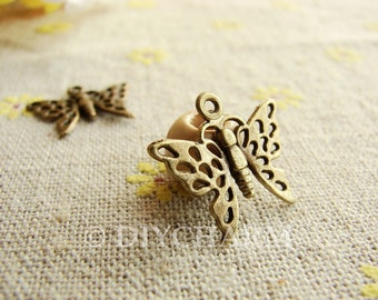 Antique Bronze Butterfly Charms 20x15mm - 10Pcs - DC23279