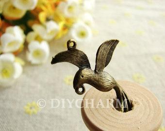 Antique Bronze Hummingbird Charms 18x30mm - 10Pcs - FI23353
