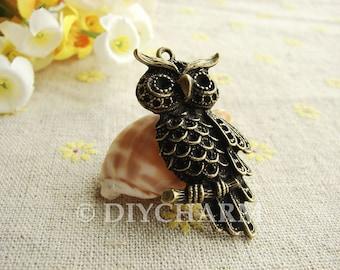 Antique Bronze Lovely Owl Charms 23x40mm - 5Pcs - DC23413