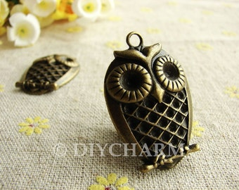 Antique Bronze Lovely Owl Charms 23x33mm - 5Pcs - DC23554