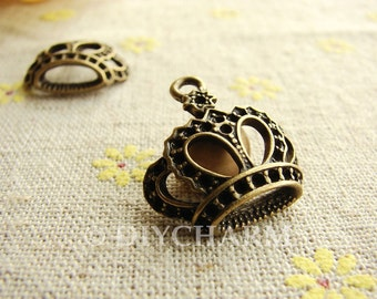 Antique Bronze Crown Charms 22x22mm - 10Pcs - DC23709