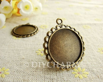 Antique Bronze Cameo Cabochon Base Settings 28x28mm ( Inner Size 22x22mm ) - 5Pcs - DS23794