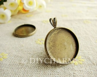 Antique Bronze Cameo Cabochon Base Settings 22x22mm ( Inner Size 20x20mm ) - 5Pcs - DS23796