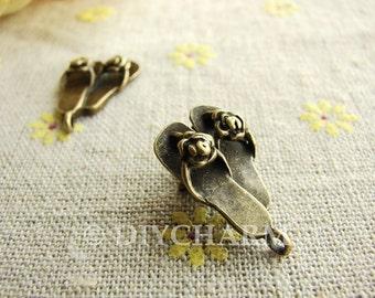 Antique Bronze Flower Slipper Shoes Charms 15x20mm - 10Pcs - DC23884
