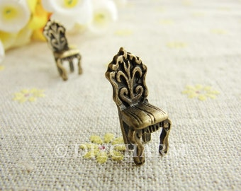 Antique Bronze Western Chair Charms 17x9mm - 10Pcs - DC23885