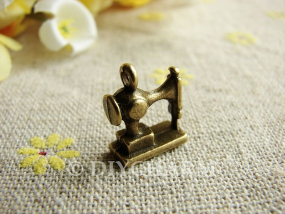 Antique Bronze 3D Sewing Machine Charms 12x12mm - 10Pcs - DC22815