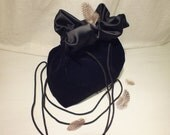 Little Black Velvet Shoulder Bag Silk Festive Evening Purse. Made to order.