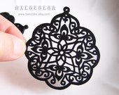 Painting Series -  55x60mm Pretty Black Oriental Style Wooden Charm/Pendant MH059 01