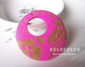 50mm Pretty Hot Pink Carved Tree Round Wooden Charm/Pendant MK03 06