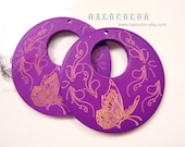 50mm Vivo Purple Carved Butterfly Wooden Round Charm/Pendant MK15 10