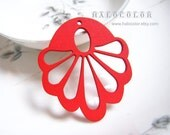 Painting Series - 44x50mm Pretty Red Peacock Wooden Charm/pendant MH115 03
