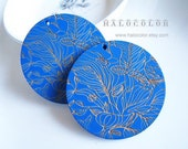 Painting Series  50mm Amazing Blue Carved Line Drawing Wooden Round Charm/Pendant MK13 09