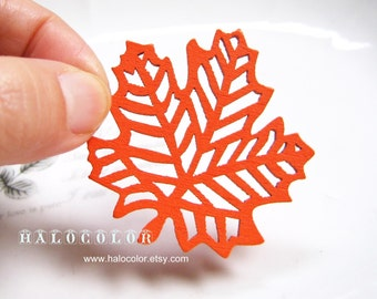 Painting Series- 45x50mm Pretty Orange Maple Leaf Wooden Charm/pendant MH092 12