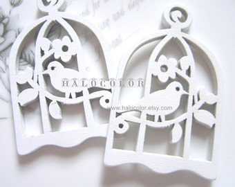 6 PCS - 34x54mm Pretty White Bird with Cage Wooden Charm/Pendant MH016 04