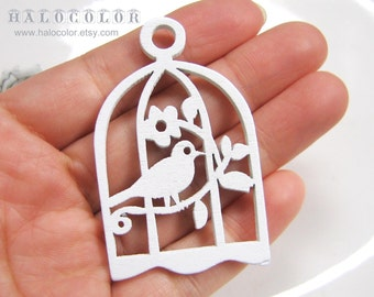 6 PCS - 34x54mm Pretty White Bird with Cage Wooden Charm/Pendant MH093 04