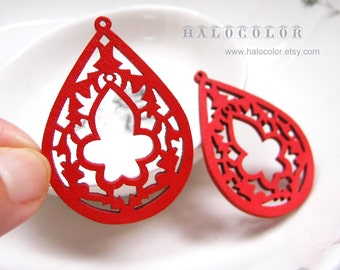 35x48mm Pretty Red Lotus Flower Wooden Charm/Pendant MH076 03