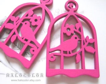 6 PCS - 34x54mm Pretty Hot Pink Bird with Cage Wooden Charm/Pendant MH016 06