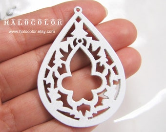 Painting Series  - 35x48mm Pretty White Lotus Flower Wooden Charm/Pendant MH076 04