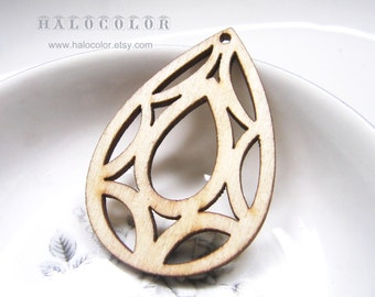 36x53mm Pretty Nature Color Diamond Shape Wooden Charm/Pendant MH098 11