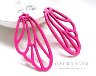 Painting Series - 28x55mm Pretty Hot Pink Wing Wooden Charm/Pendant MH107 06