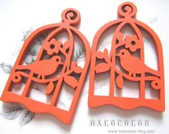 6 PCS - 34x54mm Pretty Orange Bird with Cage Wooden Charm/Pendant MH016 12