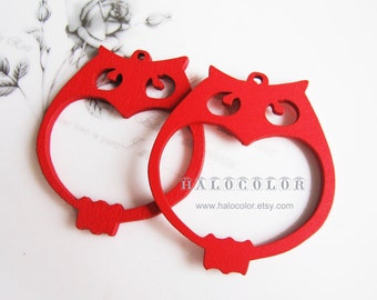 6 PCS - 45x50mm Pretty Red MR. Owl Wooden Charm/Pendant  MH056 03