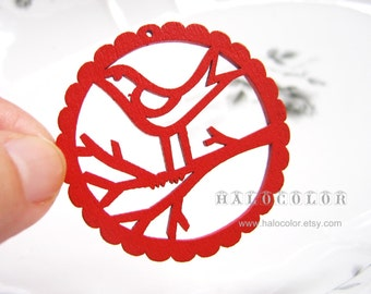 6 PCS - 48mm Pretty Red Bird On Branch Wooden Charm/Pendant MH069 03