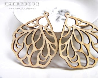 42x48mm Fancy Nature Wing Wooden Charm/Pendant MH109