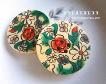 5 PCS - 30mm Pretty Flower Wooden Buttons NK16