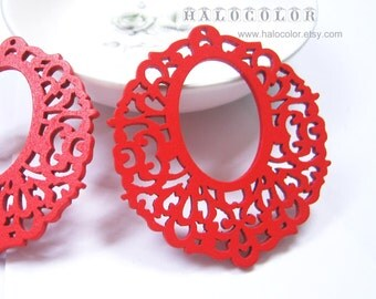 Painting Series - 54x60mm Pretty Red Lace Wooden Charm/Pendant MH071 03