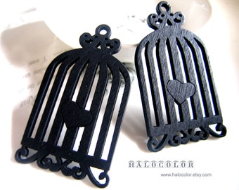 Painting Series- 33x59mm Pretty Black Birdcage With Heart Wooden Charm/Pendant MH139 07