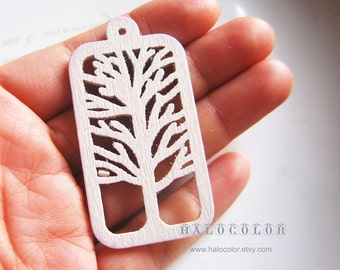 Painting Series - 28x55mm Pretty White Rectangle Tree Wooden Charm/Pendant MH124 04