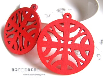 6 PCS - 50 mm Pretty Red Four Moon Wooden Charm/Pendant MH162 03