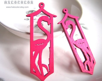 Painting Series - 18x61mm Pretty Hot Pink Crane  Wooden Charm/Pendant MH136 06