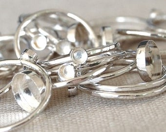 Five 3 to 8mm Bezel Cup Ring Blanks - Sterling Silver - Your Sizes - Silver Rings - Wholesale