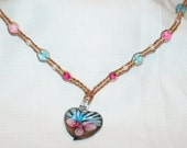 Hemp Necklace W/ Pink & Blue Glass Pendant