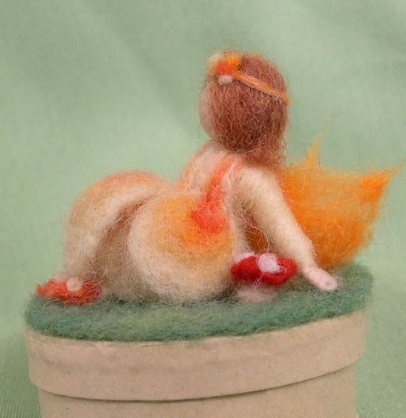 Needle Felted Miniature Flower Fairy resting on a  little Box - Waldorf style