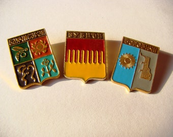 Soviet Vintage Pins Metal Pins Badges Town Emblems Russian Vintage Pins Set of 3 Pins Collection