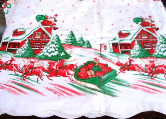 Vintage Santa Claus And Reindeer Tablecloth By