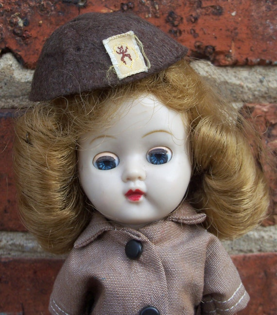 RESERVE for Barbara 1950s Brownie Girl Scout Doll in Uniform Hard Plastic