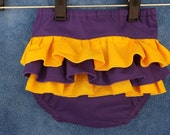 Purple and Gold Ruffled Diaper Cover  0-24 Mo