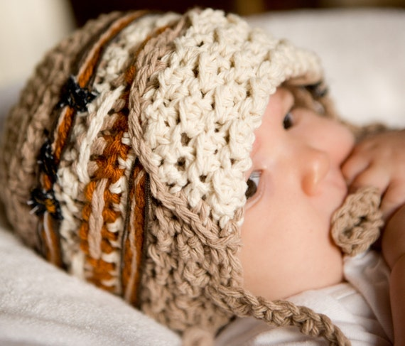 Boys Chunky Crocheted Bomber Harrison Hat with Recycled Jean Material Accents