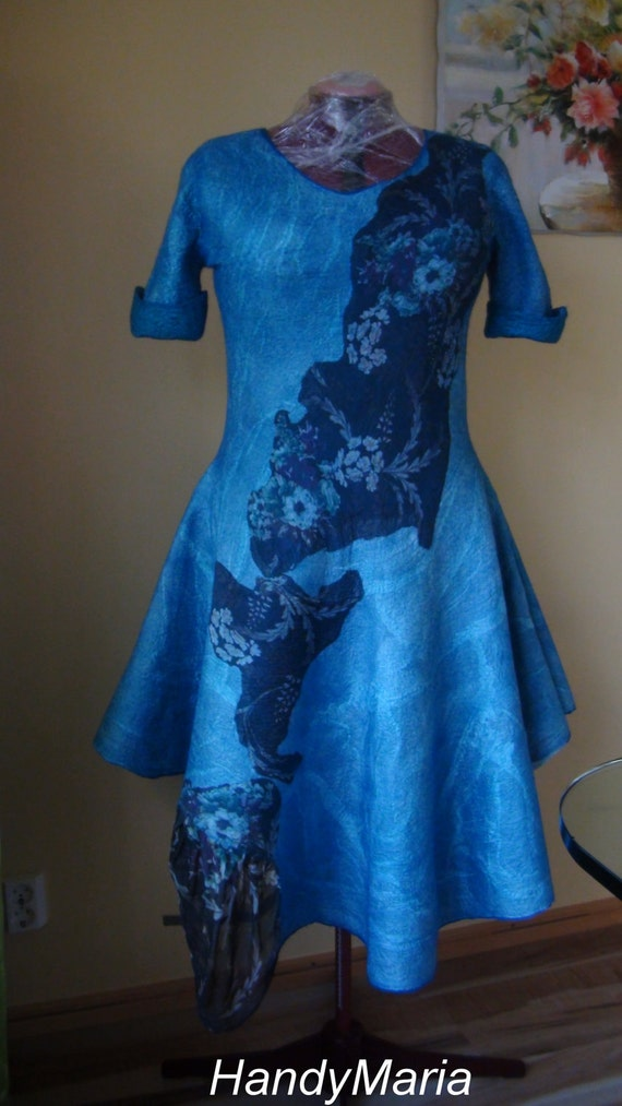 Nuno felted dress  turquoise.  Reversible  2 in 1