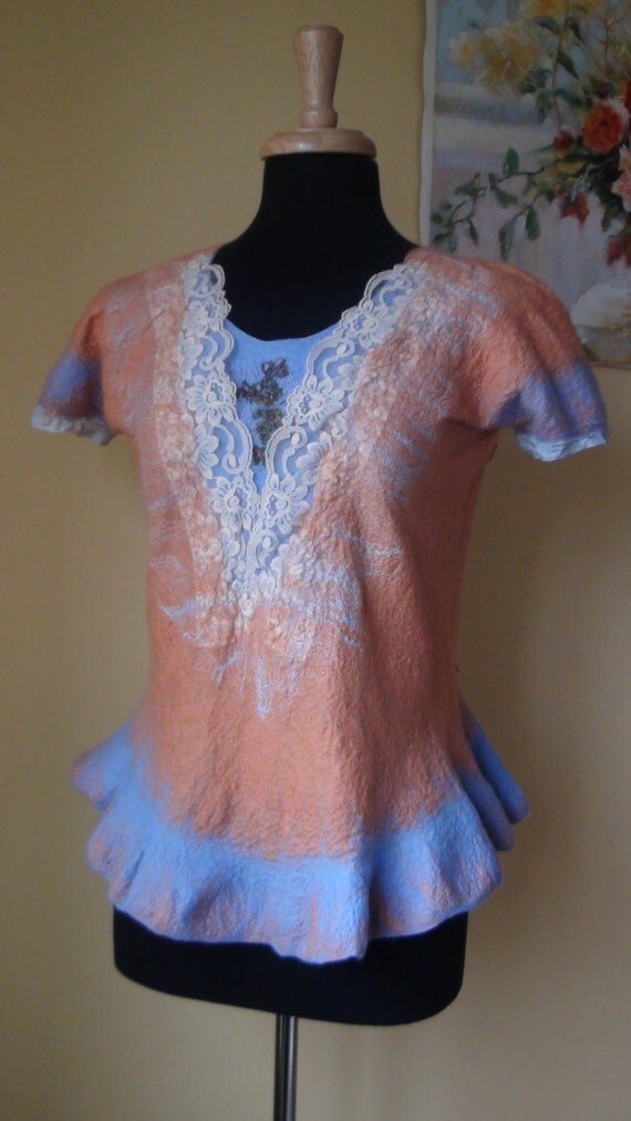 Nuno felted tunic bluse  light blue, peach, floral