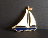SAIL BOAT Brooch - NAUTICAL - Red White and Blue