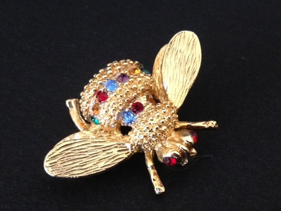 BEE PIN - BROOCH - Gold with Colorful Rhinestones