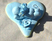 Angel Baby Sculpture Blue with Rose and Yellow accents Polymer Clay Hand sculpted