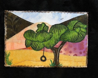 Swing With A View - Quilted Fabric Postcard Art Quilt  - Mailable One of a Kind Postcard