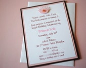 Handmade Personalized Princess Birthday Party Invitations - Pale Pink and Brown Layers w/ Tiara and gem accents