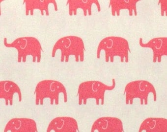 1 Yard Japanese Elephant Fabric in Pink,  light weight cotton canvas